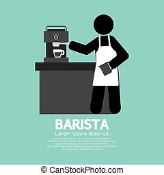 Barista Working Symbol - Barista Working With Espresso...