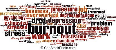 Burnout-horizon.eps - Burnout word cloud concept. Vector...