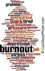 Burnout-vertical.eps - Burnout word cloud concept. Vector...