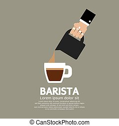 Barista Concept - Hand With Coffee Pouring Jug Barista...