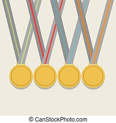 Golden Medals With Colorful Ribbon