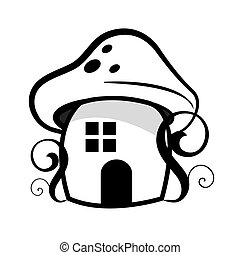 Mushroom house, fantasy, farytale -isolated on the white...