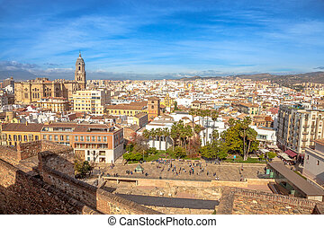 Alcazaba Malaga skyline - Panoramic view at Alcazaba of...