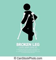 Black Symbol Broken Leg Vector