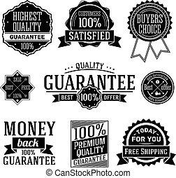Quality Guarantee labels. Vector set