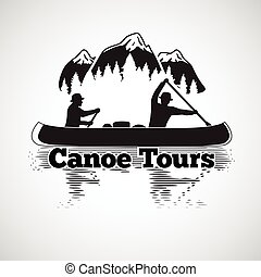 Canoe tours label. Two man in a boat, with reflection in the river, mountains and forest landscape. Vector