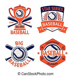 Set of old style Baseball Labels with ball and bats. Vector...