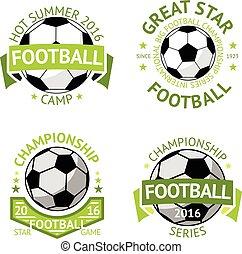 Football labels, green vintage. Vector - Vector set of green...