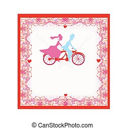 wedding invitation with bride and groom riding tandem...