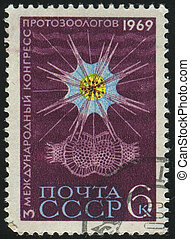 postmark - RUSSIA - CIRCA 1969: stamp printed by Russia,...