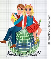 Back to School Little girl and boy with globe, vector...