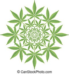 Round pattern from cannabis leaf