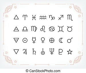 Astrology symbols and mystic signs. Set of astrological...