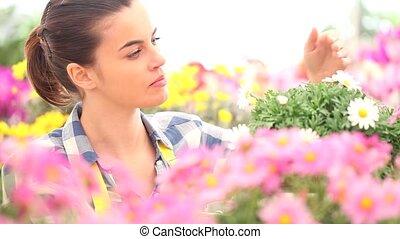 springtime, woman in the garden of