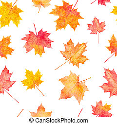 Seamless pattern of watercolor autumn maple leaves -...