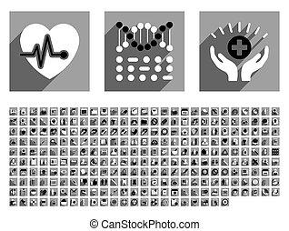 Medical Flat Longshadow Glyph Icon Set