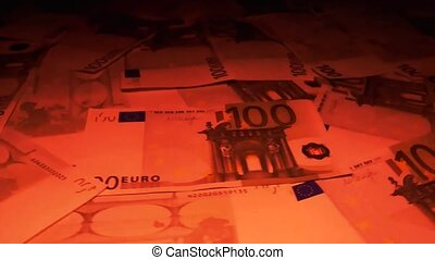 One hundred Euro banknotes.