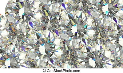 Diamonds scattering or flying away over white background