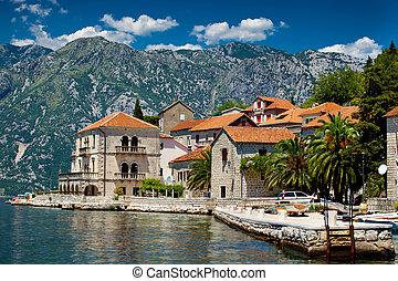 Perast city, Montenegro - Panorama view of Perast city in...
