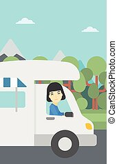 Woman driving motor home vector illustration - An asian...