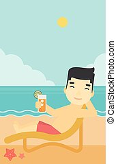 Man sitting in chaise longue vector illustration - An asian...
