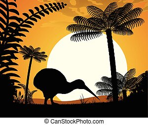 Kiwi bird at sunset Kiwi bird on a background of tree ferns...