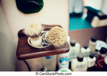 Brush shaving set in barber shop Technique of selective...