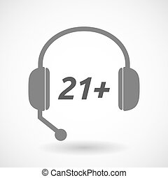 Isolated headset icon with the text 21+ - Illustration of an...
