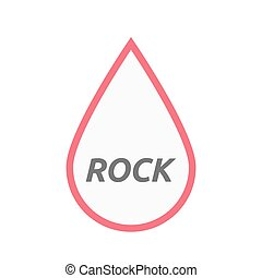 Isolated line art blood drop icon with    the text ROCK