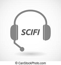Isolated headset icon with the text SCIFI - Illustration of...