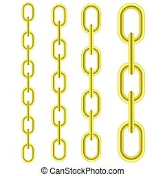 Set of Different Yellow Metal Chains Isolated on White...