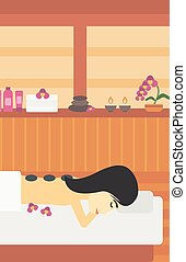 Woman getting stone therapy vector illustration.