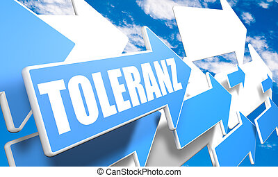 Toleranz - german word for tolerance - 3d render concept...