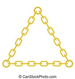 Yellow Chain Triangle Frame Isolated on White Background
