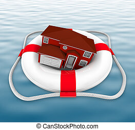 Home in Life Preserver on Water - A home in a life preserver...