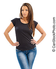 Gorgeous women with blank black shirt