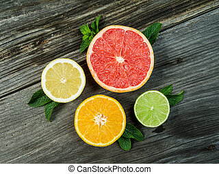 Fruit on an old wood background