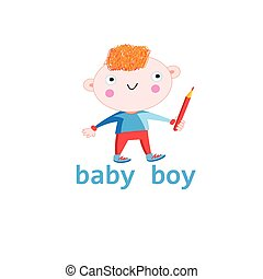 Funny baby boy - Figure funny baby boy on a white background
