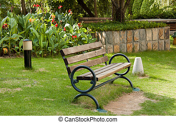Old wooden bench in a yard