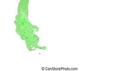 flying green fluid flow in slow motion