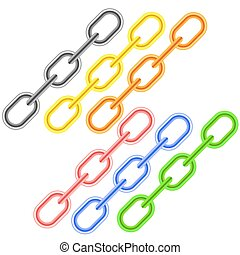 Colorful Metal Chains Isolated on White Background