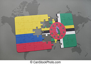 puzzle with the national flag of colombia and dominica on a...