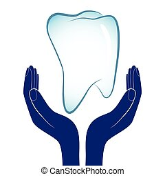 Dental care vector illustration. People hands encourage...