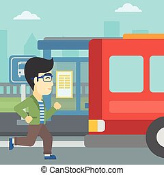 Latecomer man running for the bus. - An asian latecomer man...