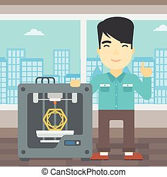 Man with three D printer vector illustration. - An asian...