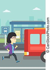 Latecomer woman running for the bus - An asian latecomer...