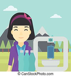 Woman with three D printer vector illustration. - An asian...