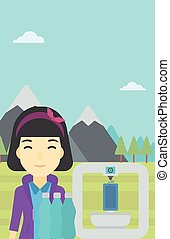 Woman with three D printer vector illustration - An asian...