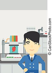 Man with three D printer vector illustration - An asian...