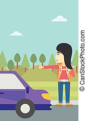 Young woman hitchhiking vector illustration - An asian young...
